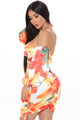 Island Sunset Ruched Mini Dress - White/combo