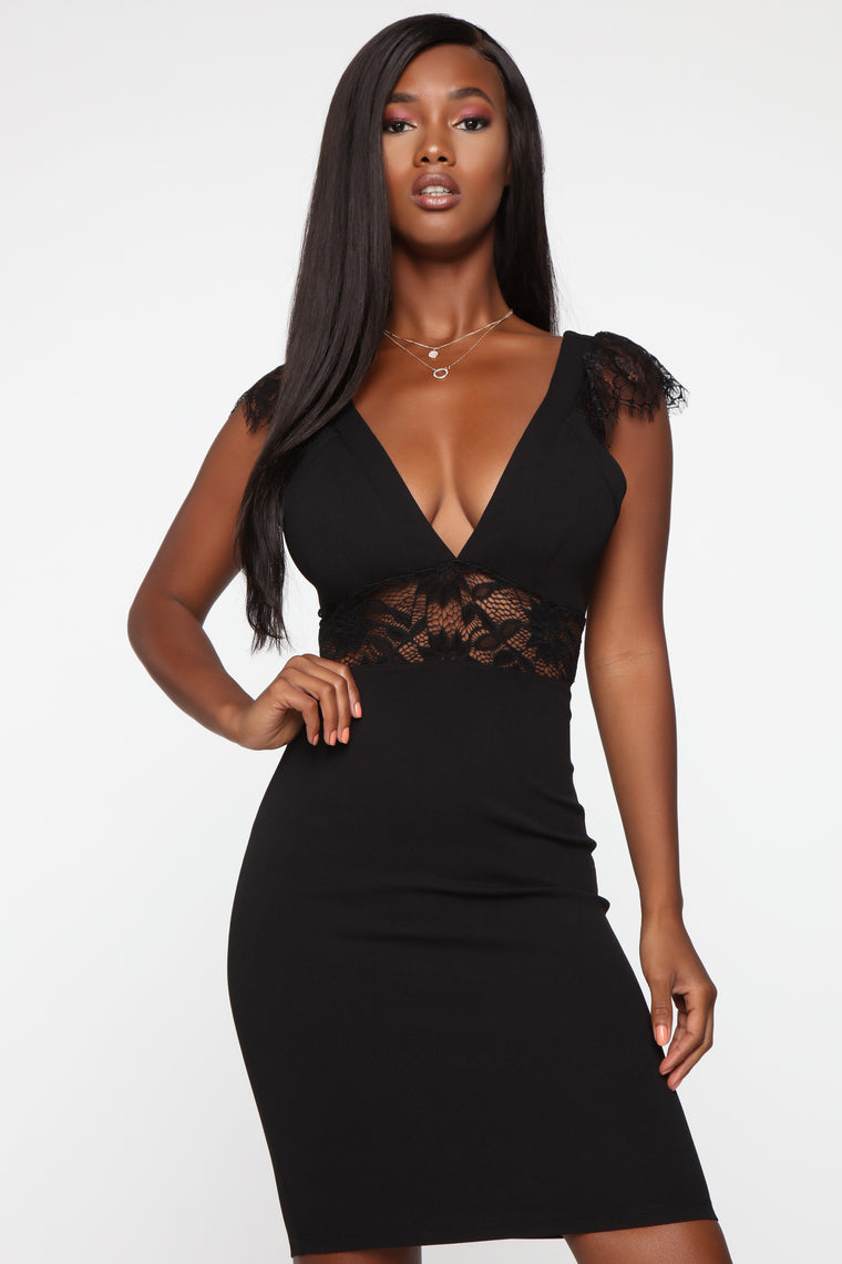 In The Moment Lace Dress - Black