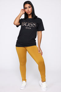 Boss Bitch Short Sleeve Tunic Top - Black Angle 2