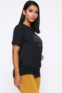 Boss Bitch Short Sleeve Tunic Top - Black Angle 3
