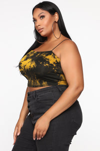 Kiki Tie Dye Crop Top - Black/Mustard
