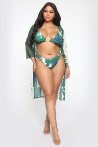 Go For A Swim 3 Piece Bikini Set - Green/White Angle 7