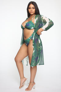 Go For A Swim 3 Piece Bikini Set - Green/White Angle 9
