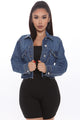 Edgy Denim Jacket - Medium Blue Wash