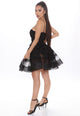 Edgy Looks Tulle Mini Dress - Black