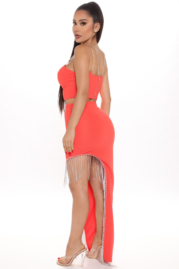 Do It For Fun Rhinestone Skirt Set - Coral
