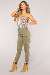 Kristina Camo One Shoulder Bodysuit - Royal