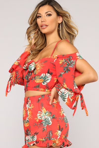 Bahama Mama Short Set - Red/Multi
