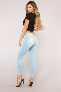 No Muffin Top Ankle Jeans - Light Blue Wash Angle 9