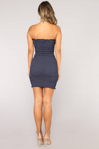 Upper East Side Polka Dot Dress - Navy