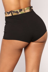 Avery Belted Shorts - Black
