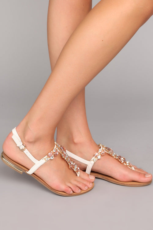Seductive Step Rhinestone Sandal - White
