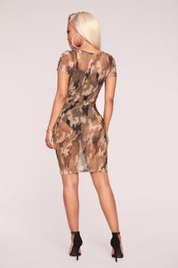 Pay Attention Camo Dress - Olive