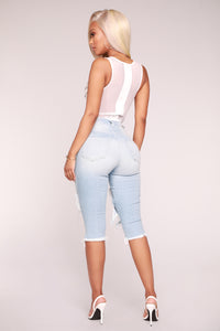Back Street Knee Length Denim - Light Blue Wash