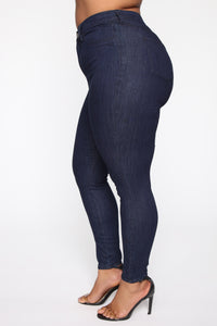 Emma Super Stretch High Rise Skinny Jean - Indigo Angle 10