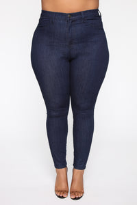 Emma Super Stretch High Rise Skinny Jean - Indigo Angle 8