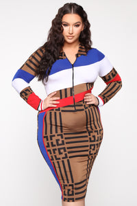 Race The Clock Midi Dress - Brown Print
