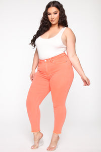 When the Lights Go Out II Ankle Jeans - Orange