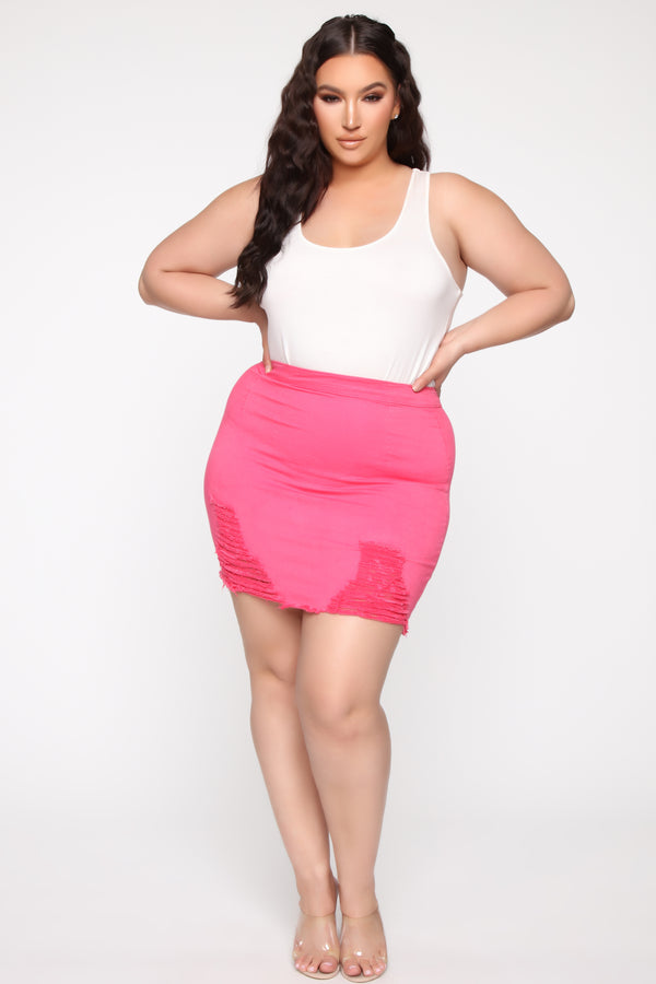 8c9536279 Rags To Riches Denim Skirt - Pink