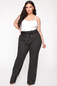 Playing Flare Tie Waist Pants - Black/White Angle 7