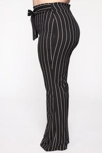 Playing Flare Tie Waist Pants - Black/White Angle 10