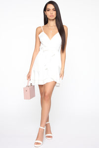 Sweet Gestures Satin Ruffle Dress - White Angle 2