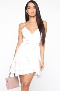 Sweet Gestures Satin Ruffle Dress - White Angle 1