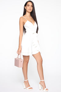 Sweet Gestures Satin Ruffle Dress - White Angle 3