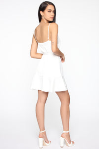 Sweet Gestures Satin Ruffle Dress - White Angle 4