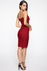 Paris Ruched Midi Dress - Dark Red