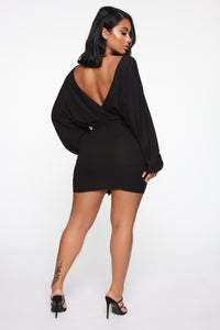Over The Top Sweater Mini Dress - Black