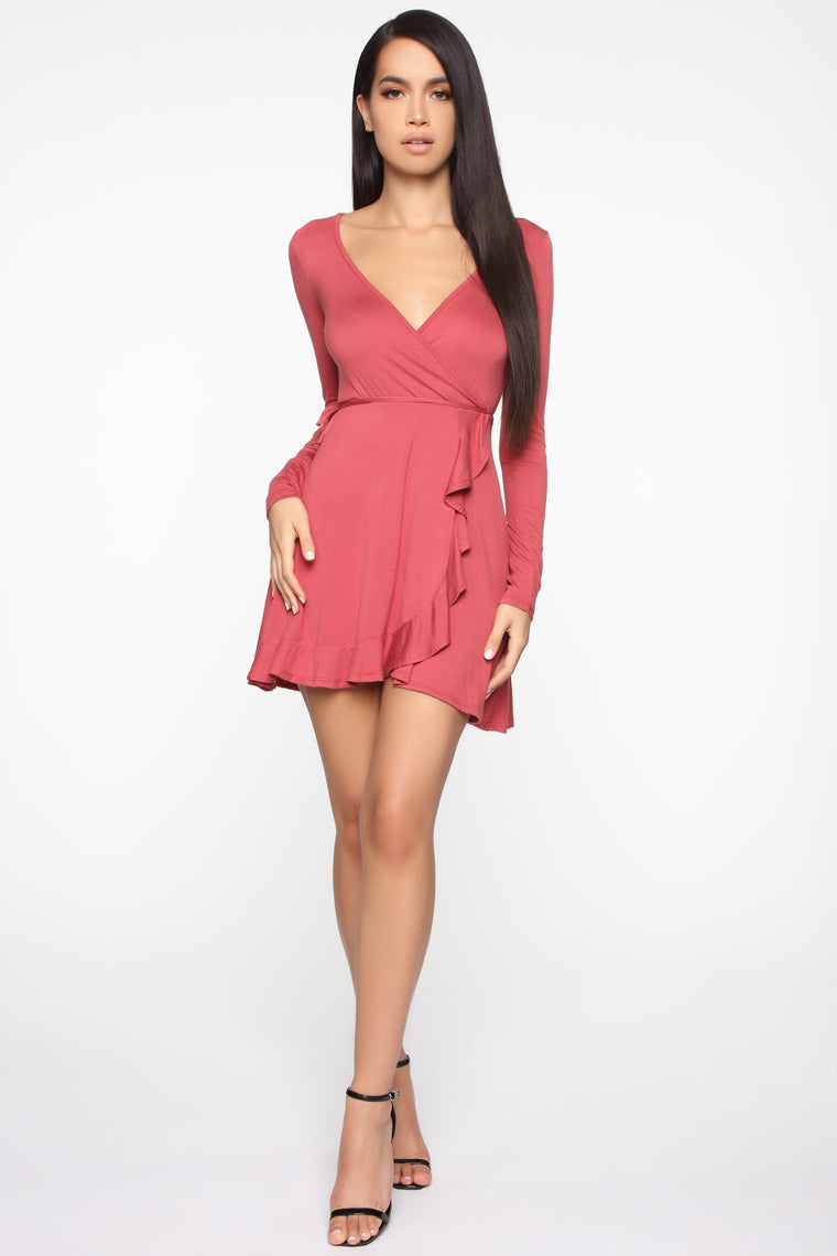 Sondra D Wrap Mini Dress - Marsala
