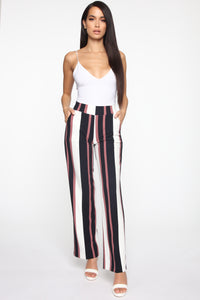 Always Striped Flare Pants - Rose