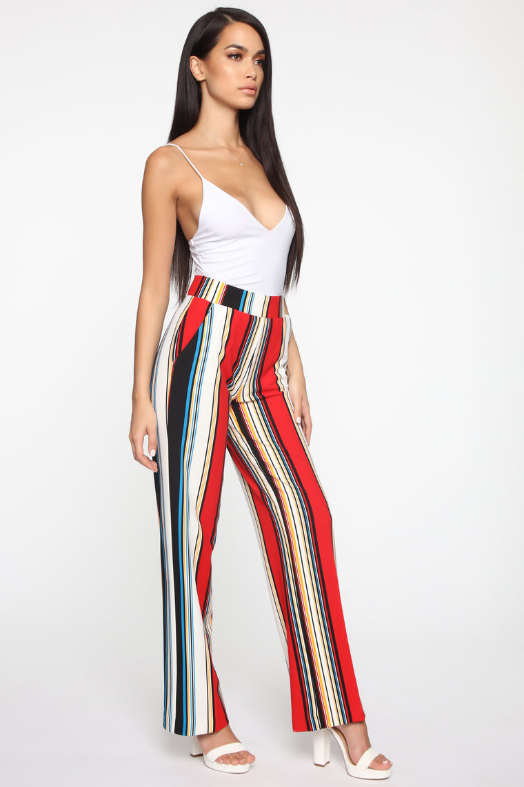 More Stripes Flare Pants - Red