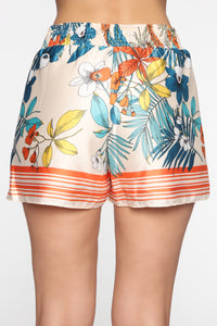 Tropical Satin Shorts - MultiColor