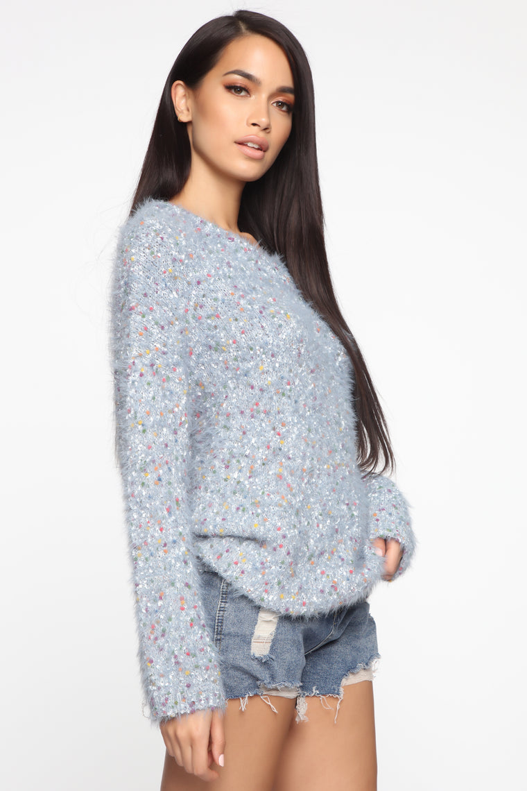 Keep Searching Fuzzy Sweater - Blue