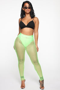 Meshy Situation Mesh Leggings - Neon Green