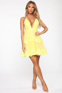 Flirty and Thriving Fit and Flare Dress - Yellow