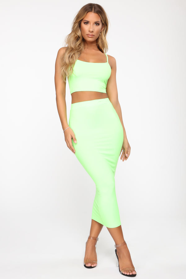f90afbaeaea No Manners Skirt Set - Neon Green