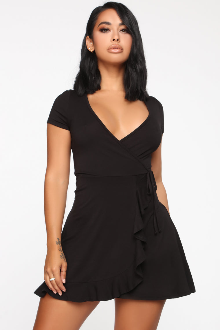 Shirley Wrap Mini Dress - Black