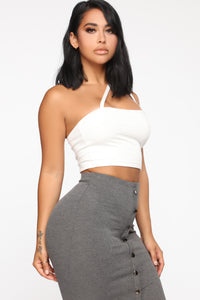 Cross Your Path Strappy Crop Top - Off White Angle 3