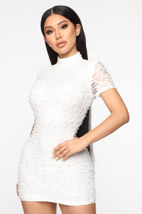 Ultimate Class Act Embellished Mini Dress - White