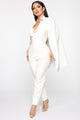 Follow My Lead Cape Jumpsuit - White