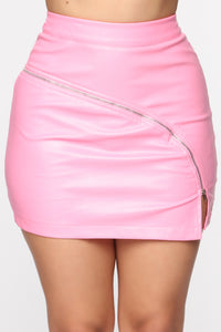 Zip It Up Mini Skirt - Pink