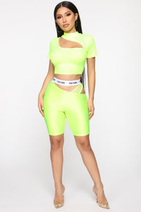 Cut The Culture Biker Shorts - Neon Yellow Angle 2