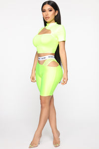 Cut The Culture Biker Shorts - Neon Yellow Angle 4