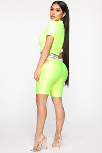Cut The Culture Biker Shorts - Neon Yellow Angle 5