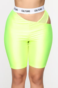 Cut The Culture Biker Shorts - Neon Yellow Angle 1