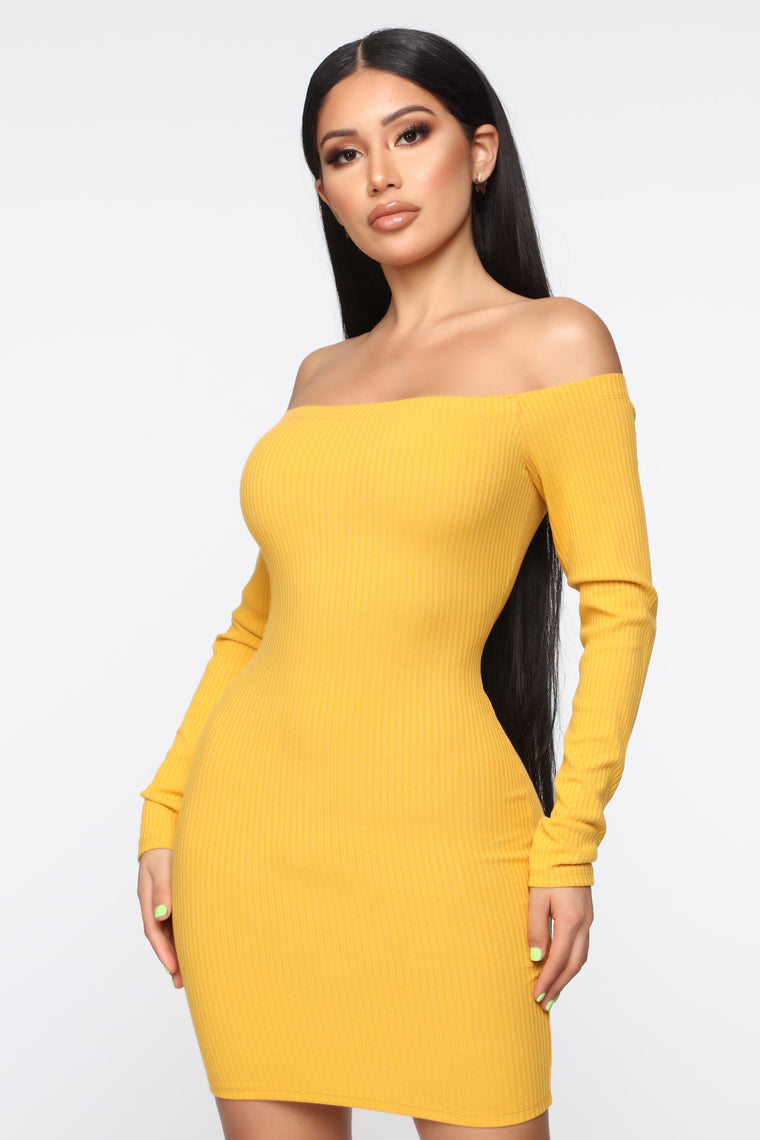 You Coming With Ribbed Mini Dress   Mustard by Fashion Nova