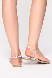 Get It Girl Flat Sandals - Silver